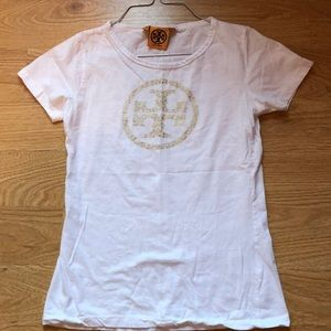 Tory Burch white and gold T-shirt sz S